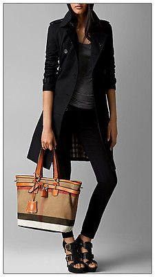 Burberry Canvas Check Medium Tote Traveller Handbag in Saddle Brown $850 | eBay