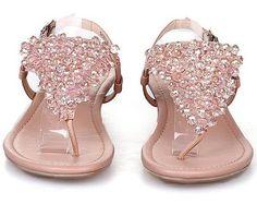 Sandalias dedo triángulo pedrería, en rosa (fronta