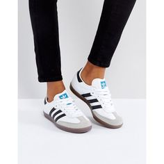 adidas Samba Trainer In White (£80) ❤ liked on Polyvore featuring shoes, sneakers, white, lace up sneakers, white trainers, striped sneakers, stretch sneakers and stretch trainer