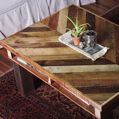 DIY pallet coffee table with a chevron pattern