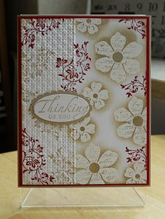 12/30/2011; Jeannie at 'Jeannie's Happy World' blog; love the partial embossing technique on this card