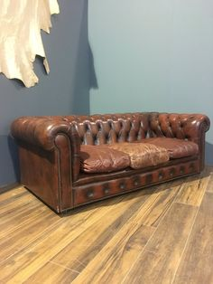 A Rustic Burnt Red Chesterfield Sofa with Great Character