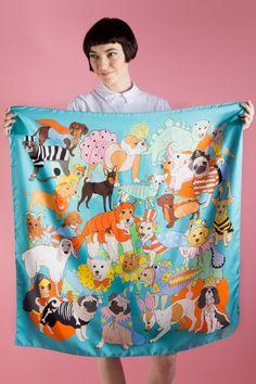 Luxury silk scarves and sleepwear illustrated by award-winning British designer Karen Mabon.