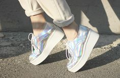 Hologram Lace up wedge shoes - $50.00 USD - http://ninjacosmico.com/12-holographic-fashion-items/3/