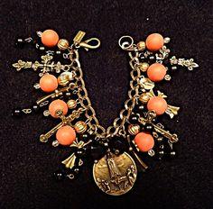 I <3 this!  -->Vintage Charm Bracelet Religious Crosses Medals Antique Brass Beads