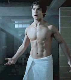Tyler Posey with Towel - - - He looks so much better WITHOUT THE TATTOOS!