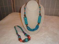 Pr Vintage Tribal Turquoise & Multicolor Wood Glass Metal Lucite Beads Necklaces #Unbranded #StrandString