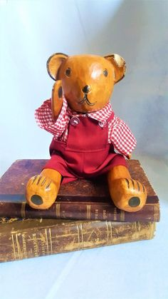 Vintage Wood Bear Teddy In Dungarees I Shop, My Etsy Shop, Wish You The Best, Dungarees, Antique Items, Vintage Wood, Handmade Toys, Statues, Teddy Bear