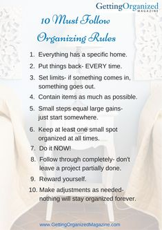 10 organizing rules by gettingorganized magazine Clutter Organization, Household Organization, Household Cleaning Tips, Cleaning Checklist, House Cleaning Tips, Spring Cleaning, Cleaning Hacks, Business Organization, Organization Ideas