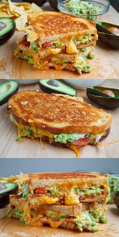 Bacon Guacamole Grilled Cheese Sandwich - A buttery and toasty grilled cheese sandwich stuffed with cool and creamy guacamole, crispy bacon a - I Love Food, Good Food, Yummy Food, Tasty, Grilled Cheese Recipes, Chicken Recipes, Avocado Sandwich Recipes, Club Sandwich Recipes, Blue Cheese Recipes