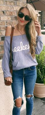 Grey Printed Off Shoulder Knit / Destroyed Skinny Jeans Levi's 721 Skinny Jeans in Rugged Indigo Denim Blue Navy Ripped Trending Summer Spring Fashion Outfit to Try This 2017
