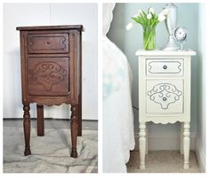 Nightstand Makeover... Annie Sloan Chalk Paint in Old White, allow it to dry then one coat of soft wax. To highlight the detail in the ridges apply some gray acrylic paint with an inexpensive artist's brush.