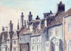 ACEO Original Rooftops architecture cityscape roof chimneys victorian England #LineandWash
