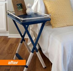 tray table makeover…I like this better than the original maple TV trays…and they usually come in set of 4 so you can make 2 nightstands for each nautical bedroom! Tv Tray Makeover, Furniture Makeover, Diy Furniture, Nautical Furniture, Wicker Furniture, Furniture Design, Repurposed Furniture, Nautical Dresser, Dresser Makeovers