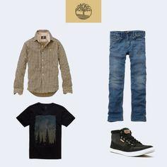 Vai curtir uma balada com os amigos no final de semana? Aqui vai a nossa dica: use uma camisa Gingham Meridien por cima de uma camiseta Landscape, jeans e um estiloso tênis City Escape. Você será o homem mais cheio de estilo da noite! #Timberland_br