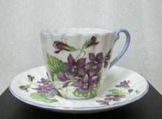 SHELLEY VIOLETS pat# 13821 LUDLOW DEMITASSE SHAPE COFFEE CUP & SAUCER circa 1955 #Shelley