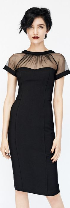 Maggy London Illusion Yoke Crepe Sheath Dress in Black, Red or Navy