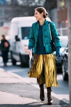 Gold Skirt And Chinese Silk Jacket