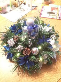 Handmade Christmas Centerpiece Blue/Silver by NattyNatsArrangement