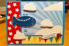 Blue Blimp Banner Baby Button Baker's Twine by LancasterLurker - Cards and Paper Crafts at Splitcoaststampers