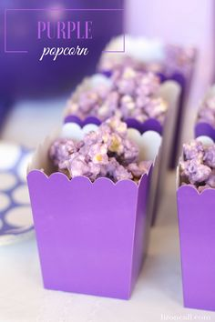 Purple Popcorn - Liz on Call - - I don't know anyone who can stop eating this purple popcorn. It's a great party treat that can be customized any color to match your party. Purple Dessert Tables, Purple Desserts, Purple Candy Buffet, Purple Table, Purple Party Foods, Purple Food, Purple Stuff, Purple Sweet 16, Lila Party
