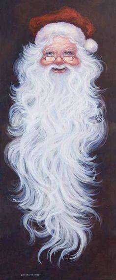 "Santa Long Bearded by Brenda Brannon 48""x19"" Giclee Reproduction Christmas Paint | eBay"