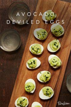 Avocado Deviled Eggs via @PureWow via @PureWow