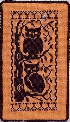 Halloween Silhouettes Owls - Cross Stitch Pattern by Handblessings