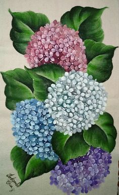 Hydrangea Painting, Acrylic Painting Flowers, Acrylic Art, Fabric Painting, Painting & Drawing, Watercolor Paintings, Flower Coloring Pages, Decoupage Vintage, Pictures To Paint