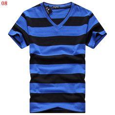 2016 mens V-neck T-shirt men's short sleeve T-shirt men's cotton t shirts striped tshirt free shipping