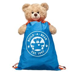 1175b43139c2e Take your furry friend on-the-go with this blue & orange drawstring  backpack! Find stuffed animals, clothing & accessories for any occasion at  Build-A-Bear.
