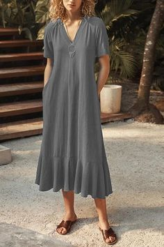 V Neck Tied Back Dress – moontica Backless Maxi Dresses, Striped Maxi Dresses, Linen Dresses, Maxi Skirt Style, Midi Flare Skirt, Pink Ruffle Dress, Daily Dress, Little Dresses, High Collar