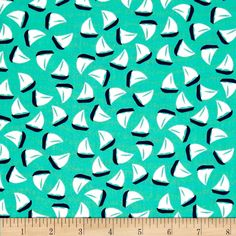 Michael Miller The Littles Little Sailboat Sprout from @fabricdotcom%0A%0AFrom Michael Miller, this cotton print is perfect for quilting, apparel and home decor accents.  Colors include mint, navy and white.