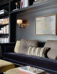 built-in shelves around daybed furniture piece....desk on adjacent wall or floating