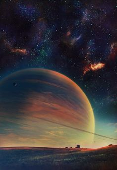 planet / sci fi / skyscape / colorful / psychedelic