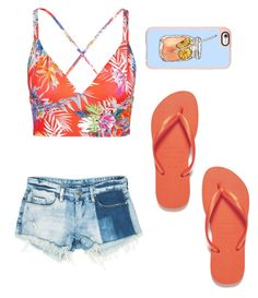 """Beachy vibes"" by kittenchanel on Polyvore featuring Havaianas, Casetify, Vitamin A and Sans Souci"