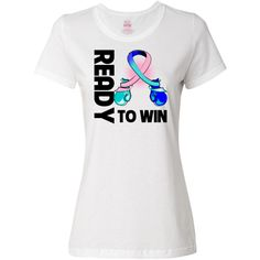Thyroid Cancer Ready to Win  T-Shirt spotlighting boxing gloves shaped into an awareness ribbon for activism, defiance and a winning attitude #ThyroidCancerAwareness