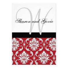 Red Black White Damask Monogram Wedding Invitation