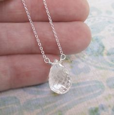 Rock Crystal Solitaire Drop Sterling Silver Chain by DJStrang