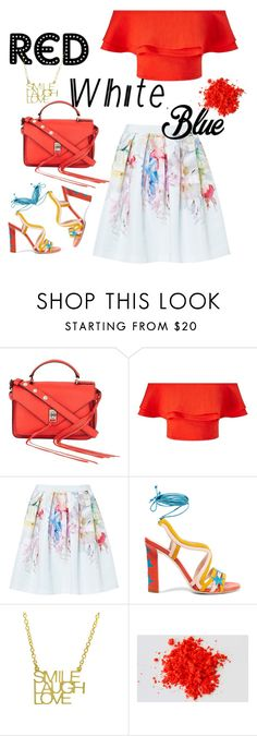 """Red, white with a splash of blue~"" by vivianliwt ❤ liked on Polyvore featuring Rebecca Minkoff, Miss Selfridge, Ted Baker, Paula Cademartori, redwhiteandblue and july4th"