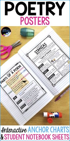Poetry Posters, Interactive Poetry Anchor Charts & Poetry for Reader& Noteb. Teaching Poetry, Teaching Language Arts, Teaching Reading, Learning, Teaching Ideas, Poetry Anchor Chart, Reading Anchor Charts, 6th Grade Reading, Middle School Reading