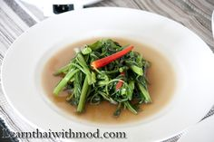 Stir-Fried Chinese Water Morning Glory – Pad Pak Bung Fai Daeng (ผัดผักบุ้งไฟแดง) | Learn Thai with Mod