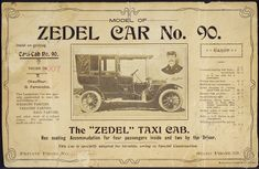 This advertising card shows a taxi cab, and an inset portrait of G. Fernandos, the chauffeur. The car was specially constructed to meet the requirements of wedding parties, theatre parties, ball.