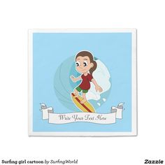 Surfing girl cartoon standard cocktail napkin