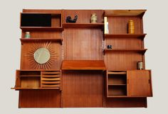 vendu - Bibliothèque murale teck système d'étagère mur modulable années 50 60 vintage design scandinave danois style poul cadovius mad men d...