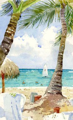 beach scenes in watercolor - Yahoo Image Search Results Beach Watercolor, Watercolor Landscape, Watercolor Paintings, Watercolors, Tropical Art, Urban Sketching, Beach Scenes, Beach Art, Strand