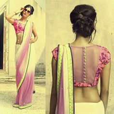 pretty white and pink saree or sari with blouse. Love the blouse design - pretty white and pink saree or sari with blouse. Love the blouse design Source by Djemkaaa - Blouse Back Neck Designs, Sari Blouse Designs, Designer Blouse Patterns, Design Patterns, Choli Designs, Indian Attire, Indian Ethnic Wear, Ethnic Dress, Indian Style