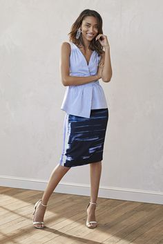 Look chic around the office in this blue brushstroke pencil skirt and blue  and white striped