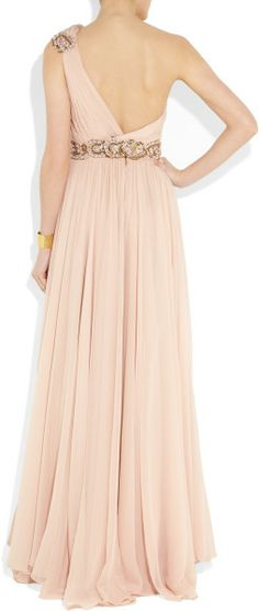 Marchesa Embellished Oneshoulder Silkchiffon Gown in Pink (blush) - Lyst