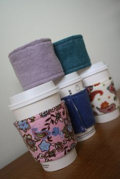 Stylish Coffe Cup Cozies! easy to do!